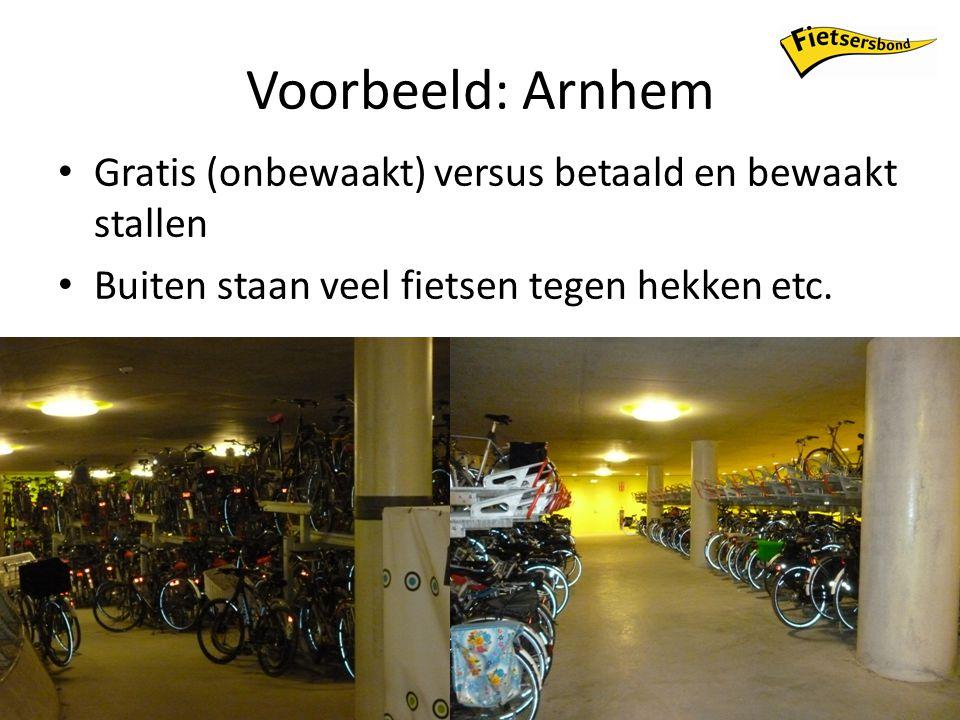 Voorbeeld: Arnhem Gratis (onbewaakt) versus betaald en bewaakt stallen Buiten staan veel fietsen tegen hekken etc.
