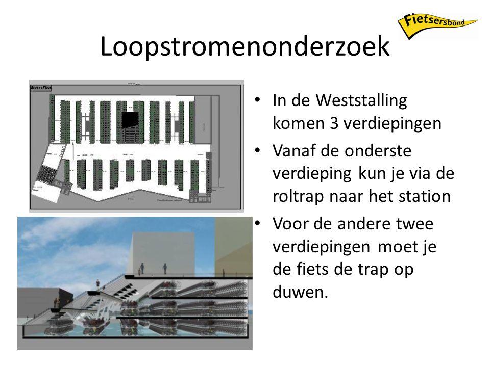 Loopstromenonderzoek In de Weststalling komen 3 verdiepingen Vanaf de onderste verdieping kun je via de roltrap naar het station Voor de andere twee verdiepingen moet je de fiets de trap op duwen.