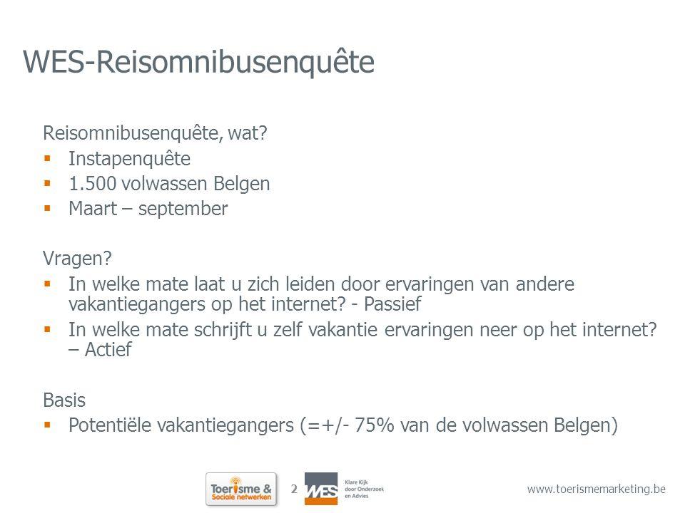 2 www.toerismemarketing.be WES-Reisomnibusenquête Reisomnibusenquête, wat?  Instapenquête  1.500 volwassen Belgen  Maart – september Vragen?  In w