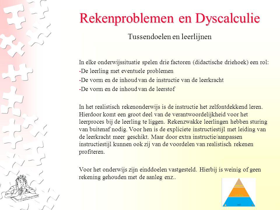 Rekenproblemen en Dyscalculie In elke onderwijssituatie spelen drie factoren (didactische driehoek) een rol: -De leerling met eventuele problemen -De