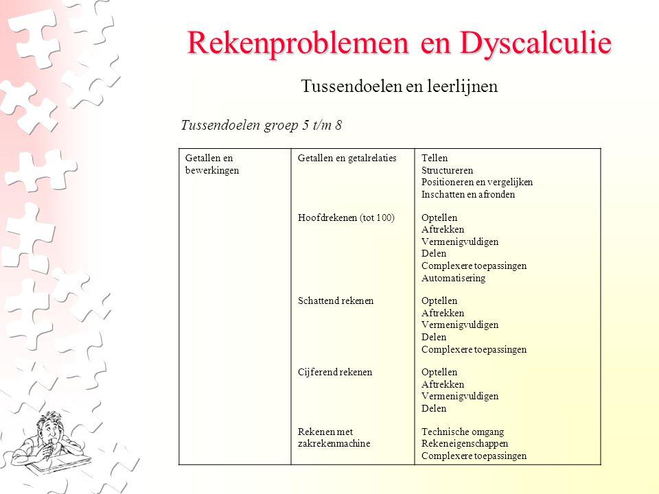 Rekenproblemen en Dyscalculie Tussendoelen groep 5 t/m 8 Tussendoelen en leerlijnen Getallen en bewerkingen Getallen en getalrelaties Hoofdrekenen (to