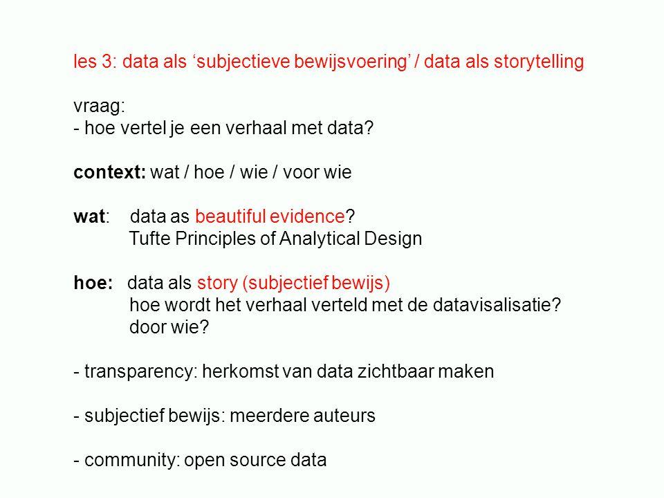 les 3: data als 'subjectieve bewijsvoering' / data als storytelling vraag: - hoe vertel je een verhaal met data? context: wat / hoe / wie / voor wie w