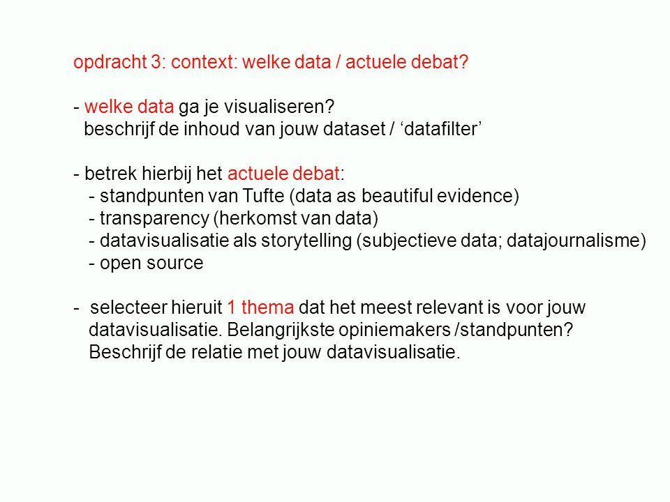opdracht 3: context: welke data / actuele debat? - welke data ga je visualiseren? beschrijf de inhoud van jouw dataset / 'datafilter' - betrek hierbij