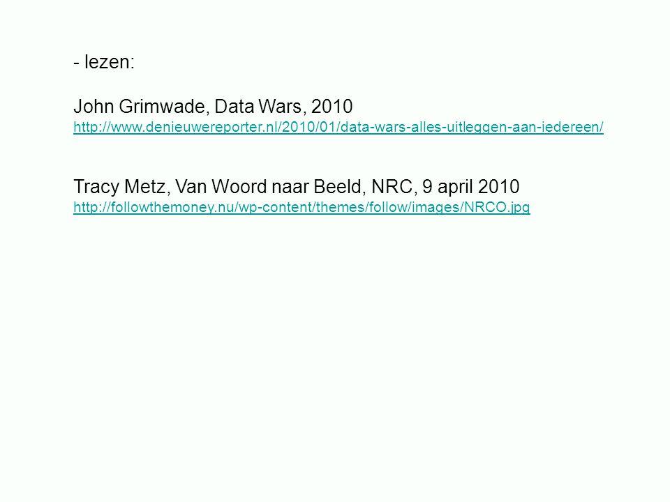 - lezen: John Grimwade, Data Wars, 2010 http://www.denieuwereporter.nl/2010/01/data-wars-alles-uitleggen-aan-iedereen/ Tracy Metz, Van Woord naar Beel