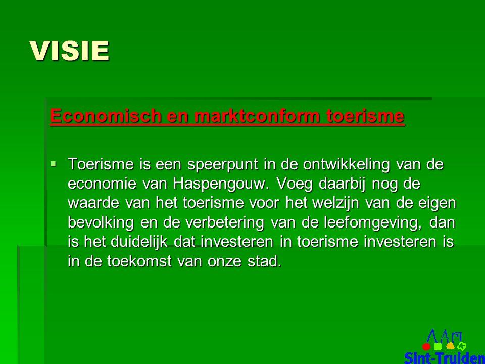 VISIE Economisch en marktconform toerisme  Toerisme is een speerpunt in de ontwikkeling van de economie van Haspengouw.