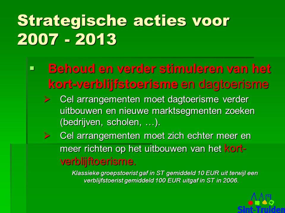 Strategische acties voor 2007 - 2013  Behoud en verder stimuleren van het kort-verblijfstoerisme en dagtoerisme  Cel arrangementen moet dagtoerisme verder uitbouwen en nieuwe marktsegmenten zoeken (bedrijven, scholen, …).