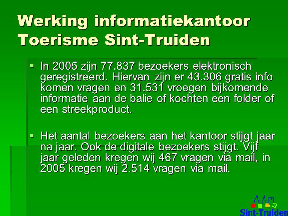 Werking informatiekantoor Toerisme Sint-Truiden  In 2005 zijn 77.837 bezoekers elektronisch geregistreerd.