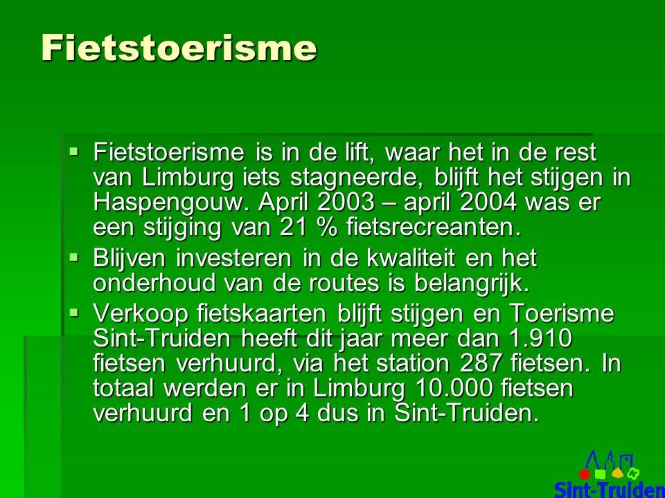 Fietstoerisme  Fietstoerisme is in de lift, waar het in de rest van Limburg iets stagneerde, blijft het stijgen in Haspengouw.