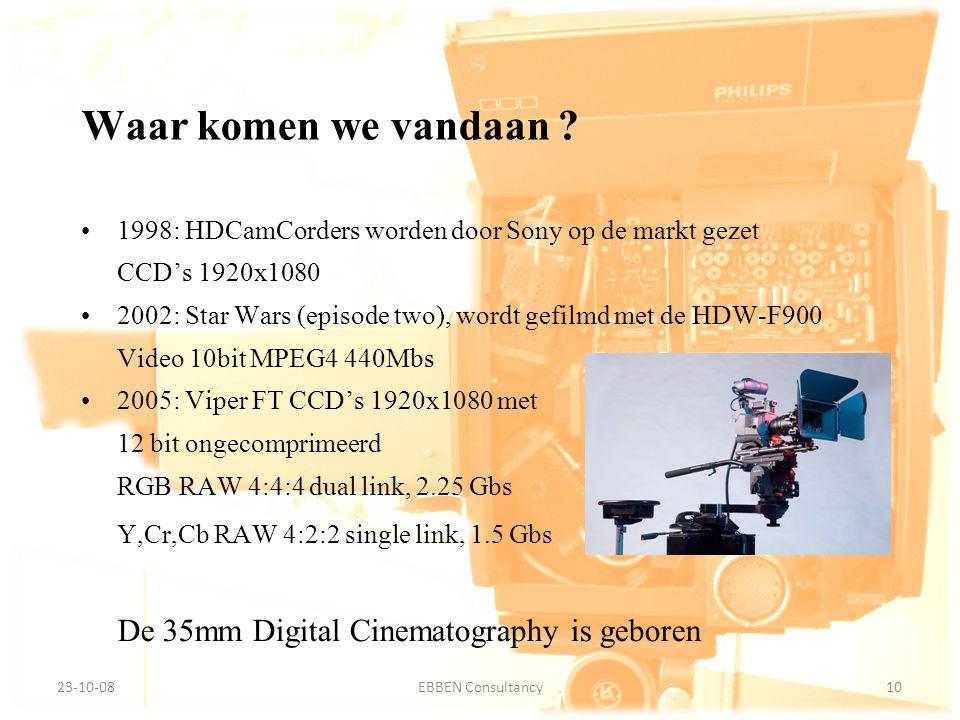 9-7-2014EBBEN Consultancy10 23-10-0810EBBEN Consultancy 1998: HDCamCorders worden door Sony op de markt gezet CCD's 1920x1080 2002: Star Wars (episode