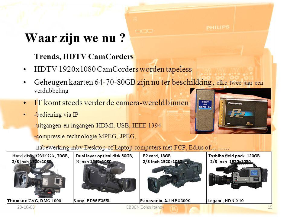 9-7-2014EBBEN Consultancy15 23-10-0815EBBEN Consultancy Trends, HDTV CamCorders HDTV 1920x1080 CamCorders worden tapeless Geheugen kaarten 64-70-80GB zijn nu ter beschikking, elke twee jaar een verdubbeling IT komt steeds verder de camera-wereld binnen -bediening via IP -uitgangen en ingangen HDMI, USB, IEEE 1394 -compressie technologie,MPEG, JPEG, -nabewerking mbv Desktop of Laptop computers met FCP, Edius of……… Waar zijn we nu .