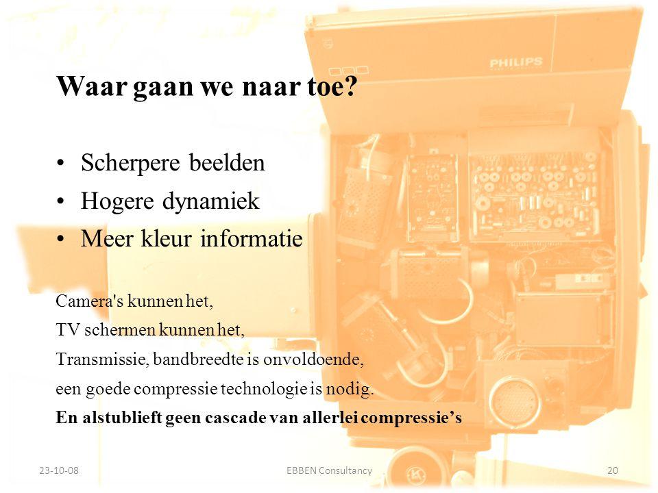 9-7-2014EBBEN Consultancy20 23-10-0820EBBEN Consultancy Waar gaan we naar toe? Scherpere beelden Hogere dynamiek Meer kleur informatie Camera's kunnen