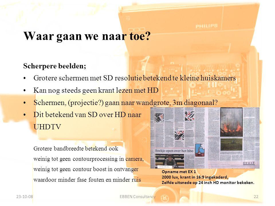 9-7-2014EBBEN Consultancy22 23-10-0822EBBEN Consultancy Scherpere beelden; Grotere schermen met SD resolutie betekend te kleine huiskamers Kan nog ste