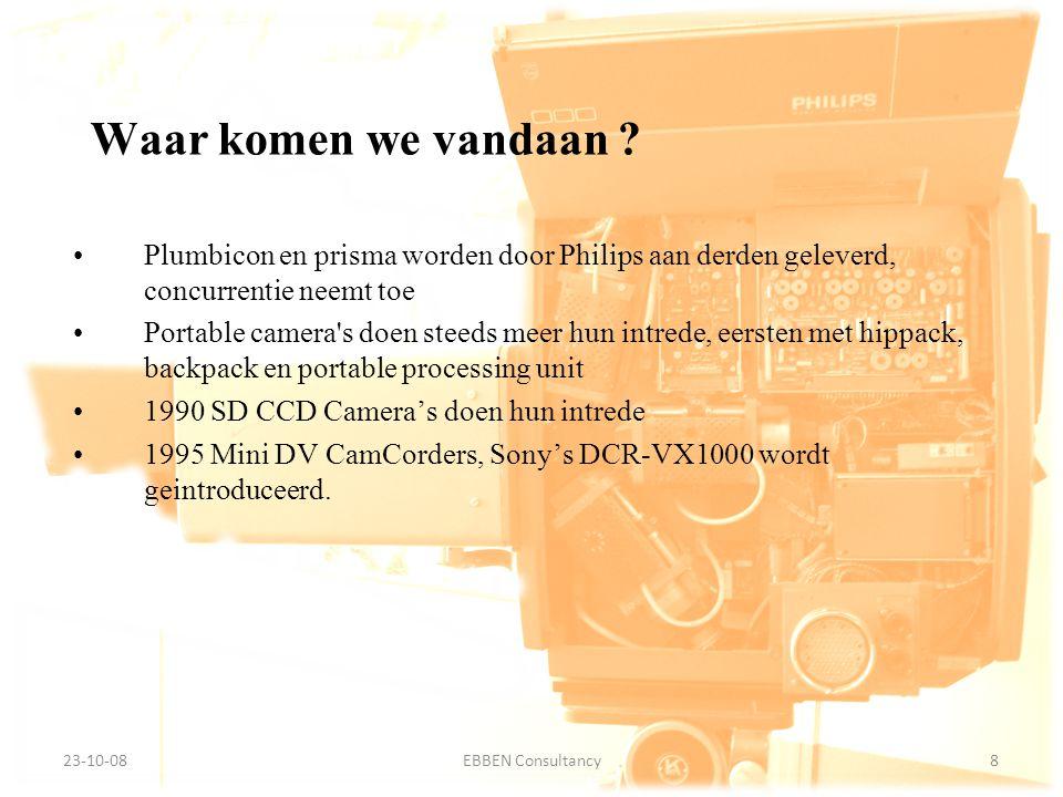 9-7-2014EBBEN Consultancy8 23-10-088EBBEN Consultancy Waar komen we vandaan ? Plumbicon en prisma worden door Philips aan derden geleverd, concurrenti