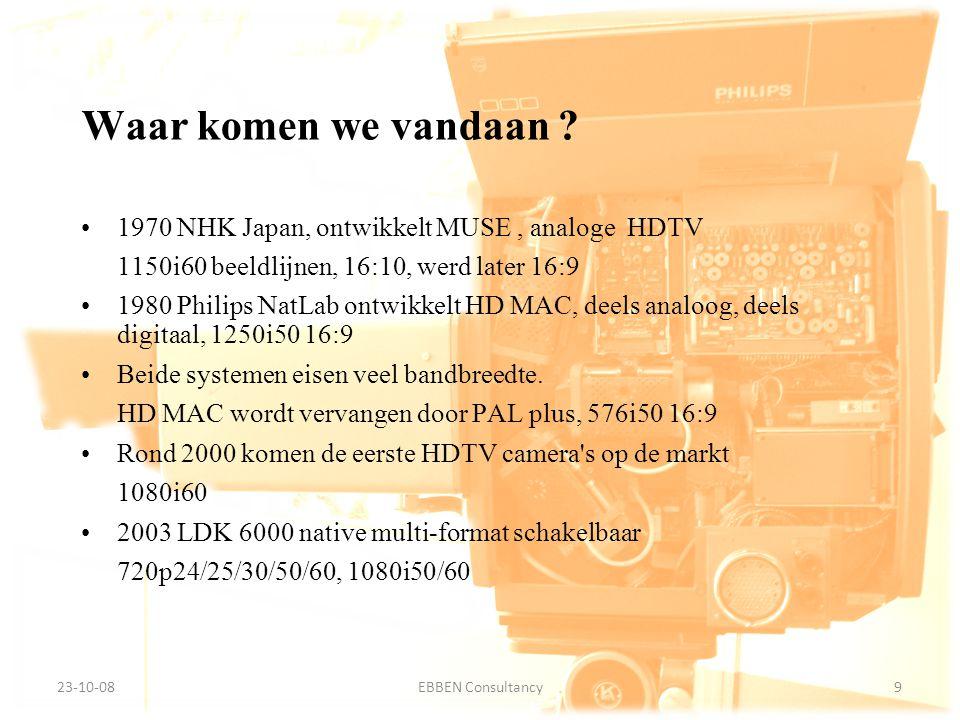 9-7-2014EBBEN Consultancy9 23-10-089EBBEN Consultancy 1970 NHK Japan, ontwikkelt MUSE, analoge HDTV 1150i60 beeldlijnen, 16:10, werd later 16:9 1980 Philips NatLab ontwikkelt HD MAC, deels analoog, deels digitaal, 1250i50 16:9 Beide systemen eisen veel bandbreedte.