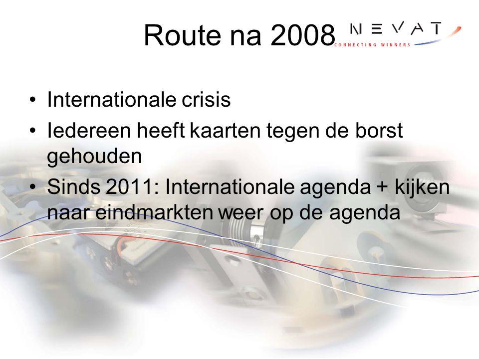 Route na 2008 Internationale crisis Iedereen heeft kaarten tegen de borst gehouden Sinds 2011: Internationale agenda + kijken naar eindmarkten weer op