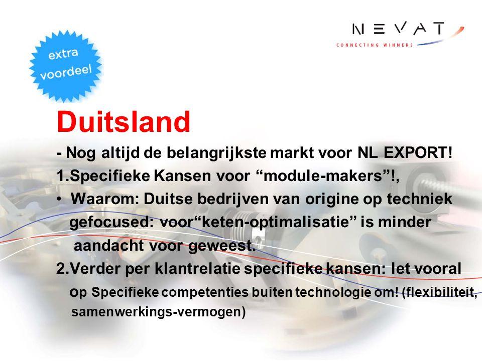 """Duitsland - Nog altijd de belangrijkste markt voor NL EXPORT! 1.Specifieke Kansen voor """"module-makers""""!, Waarom: Duitse bedrijven van origine op techn"""