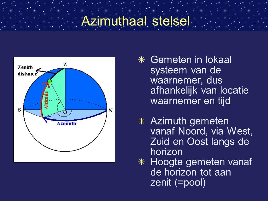 Azimuthaal stelsel ✴ Gemeten in lokaal systeem van de waarnemer, dus afhankelijk van locatie waarnemer en tijd ✴ Azimuth gemeten vanaf Noord, via West, Zuid en Oost langs de horizon ✴ Hoogte gemeten vanaf de horizon tot aan zenit (=pool)