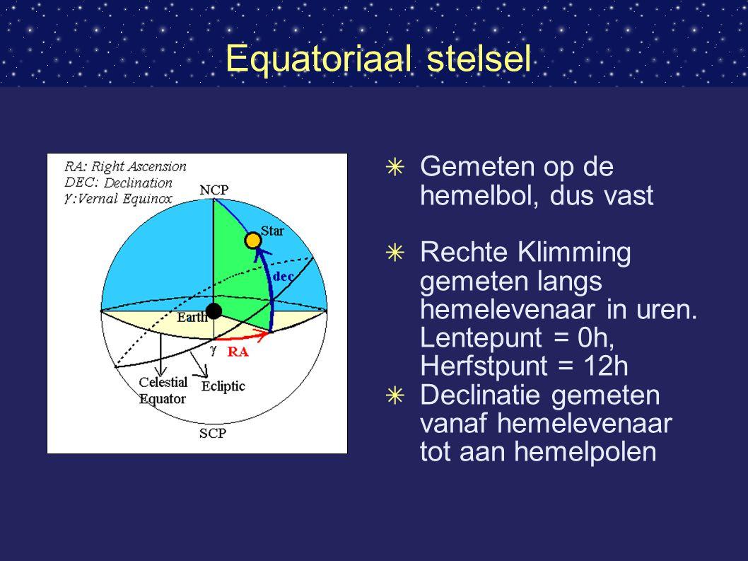 Equatoriaal stelsel ✴ Gemeten op de hemelbol, dus vast ✴ Rechte Klimming gemeten langs hemelevenaar in uren.
