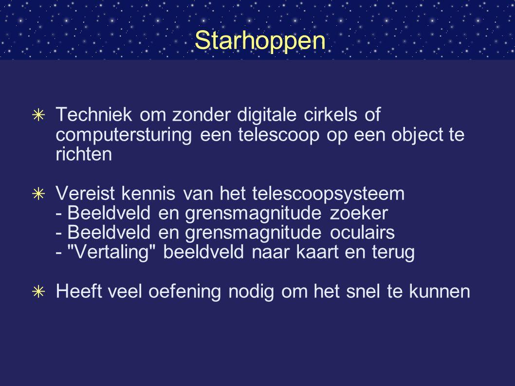 Starhoppen ✴ Techniek om zonder digitale cirkels of computersturing een telescoop op een object te richten ✴ Vereist kennis van het telescoopsysteem - Beeldveld en grensmagnitude zoeker - Beeldveld en grensmagnitude oculairs - Vertaling beeldveld naar kaart en terug ✴ Heeft veel oefening nodig om het snel te kunnen