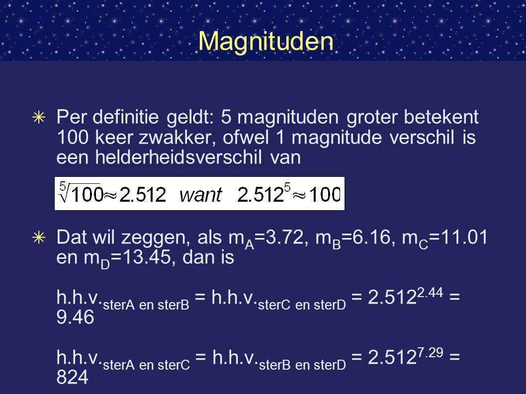 Magnituden ✴ Per definitie geldt: 5 magnituden groter betekent 100 keer zwakker, ofwel 1 magnitude verschil is een helderheidsverschil van ✴ Dat wil zeggen, als m A =3.72, m B =6.16, m C =11.01 en m D =13.45, dan is h.h.v.