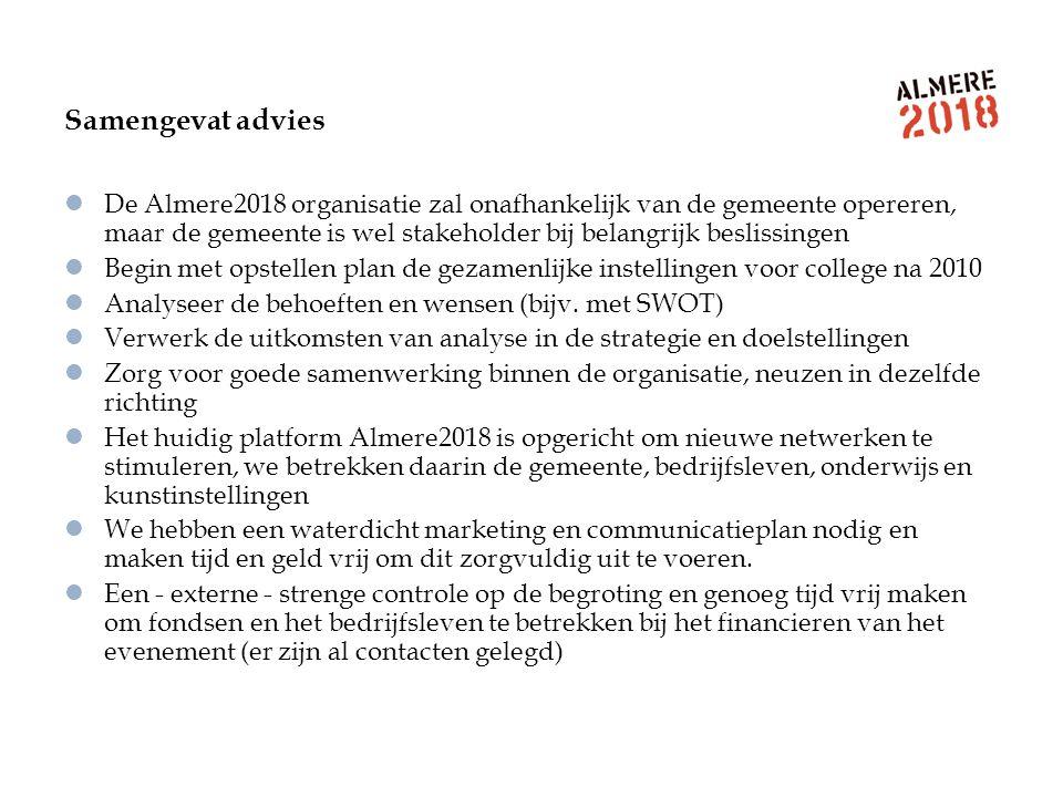 Samengevat advies De Almere2018 organisatie zal onafhankelijk van de gemeente opereren, maar de gemeente is wel stakeholder bij belangrijk beslissinge