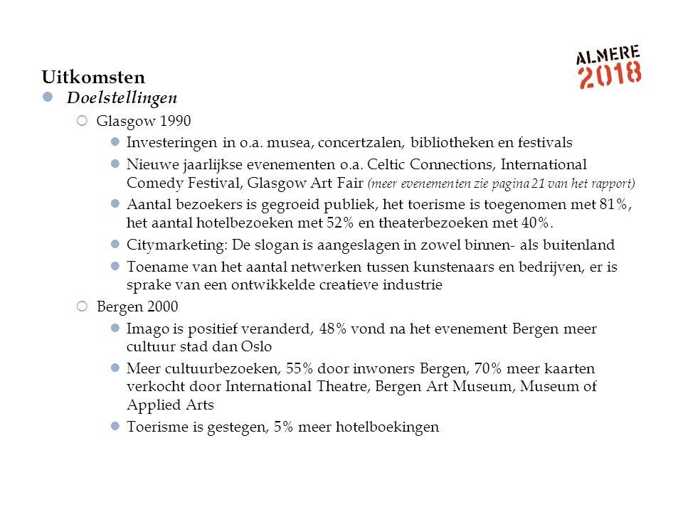 Uitkomsten Doelstellingen  Glasgow 1990 Investeringen in o.a. musea, concertzalen, bibliotheken en festivals Nieuwe jaarlijkse evenementen o.a. Celti