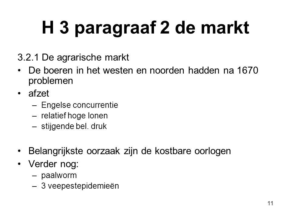 H 3 paragraaf 2 de markt 3.2.1 De agrarische markt De boeren in het westen en noorden hadden na 1670 problemen afzet –Engelse concurrentie –relatief h