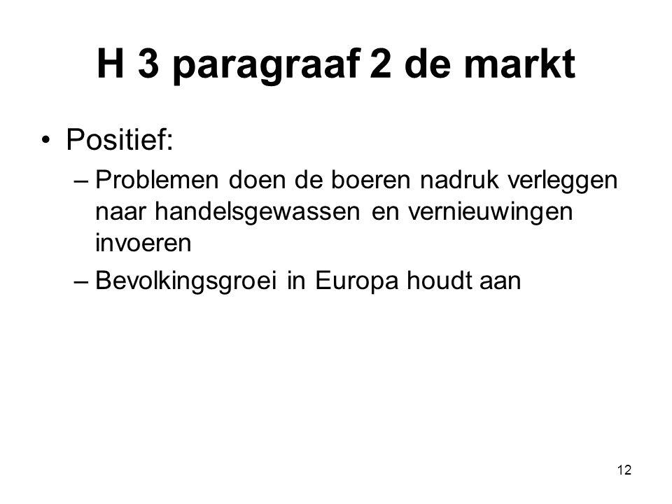 H 3 paragraaf 2 de markt Positief: –Problemen doen de boeren nadruk verleggen naar handelsgewassen en vernieuwingen invoeren –Bevolkingsgroei in Europ