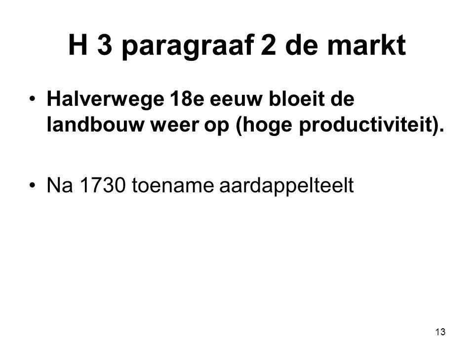 H 3 paragraaf 2 de markt Halverwege 18e eeuw bloeit de landbouw weer op (hoge productiviteit). Na 1730 toename aardappelteelt 13