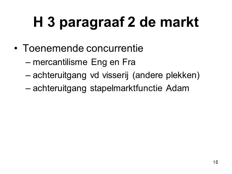 H 3 paragraaf 2 de markt Toenemende concurrentie –mercantilisme Eng en Fra –achteruitgang vd visserij (andere plekken) –achteruitgang stapelmarktfunct