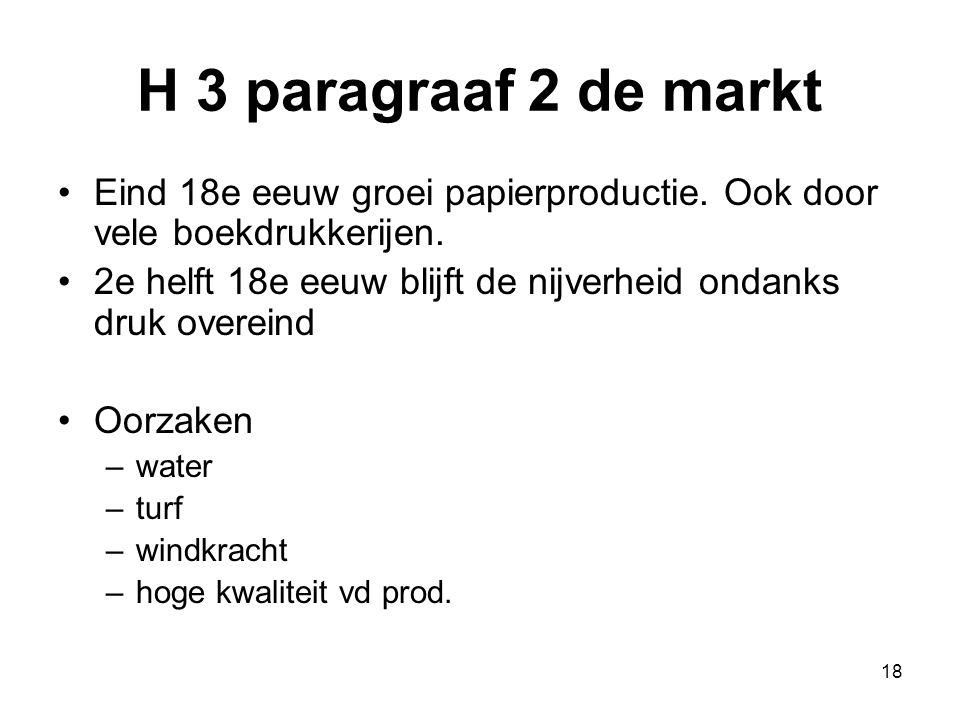 H 3 paragraaf 2 de markt Eind 18e eeuw groei papierproductie. Ook door vele boekdrukkerijen. 2e helft 18e eeuw blijft de nijverheid ondanks druk overe