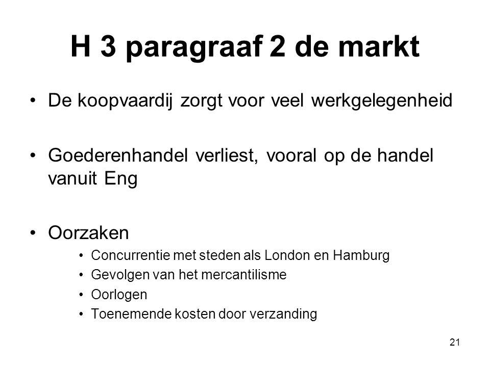 H 3 paragraaf 2 de markt De koopvaardij zorgt voor veel werkgelegenheid Goederenhandel verliest, vooral op de handel vanuit Eng Oorzaken Concurrentie