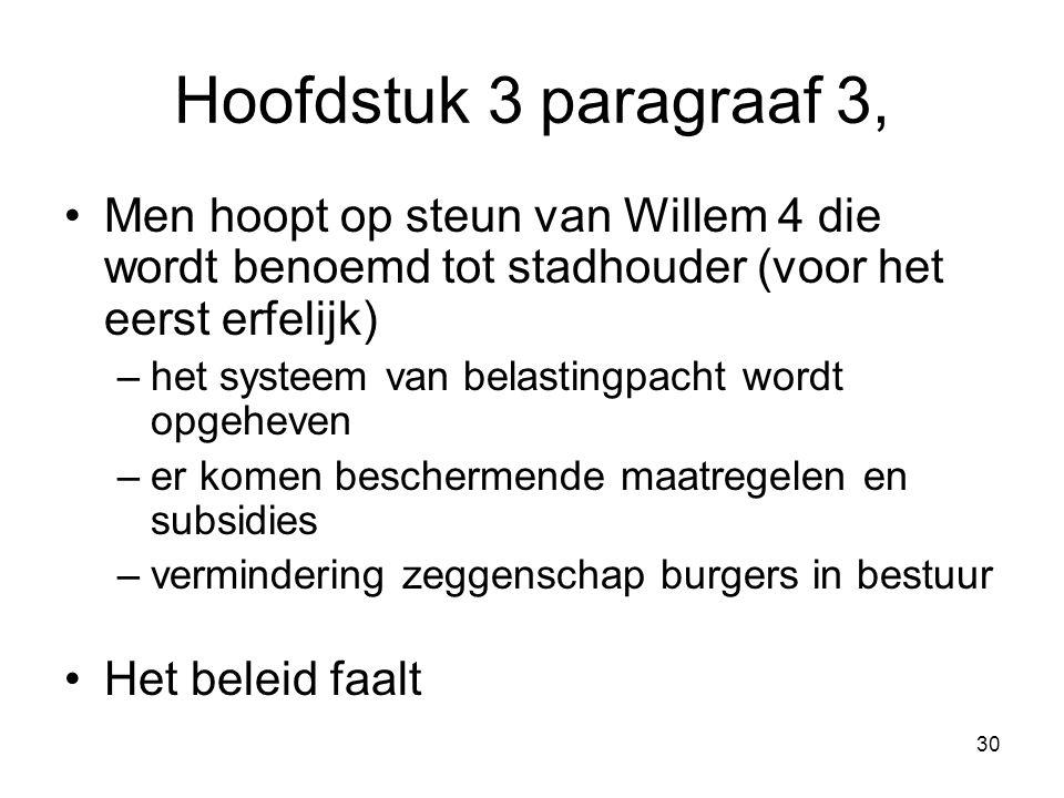 Hoofdstuk 3 paragraaf 3, Men hoopt op steun van Willem 4 die wordt benoemd tot stadhouder (voor het eerst erfelijk) –het systeem van belastingpacht wo