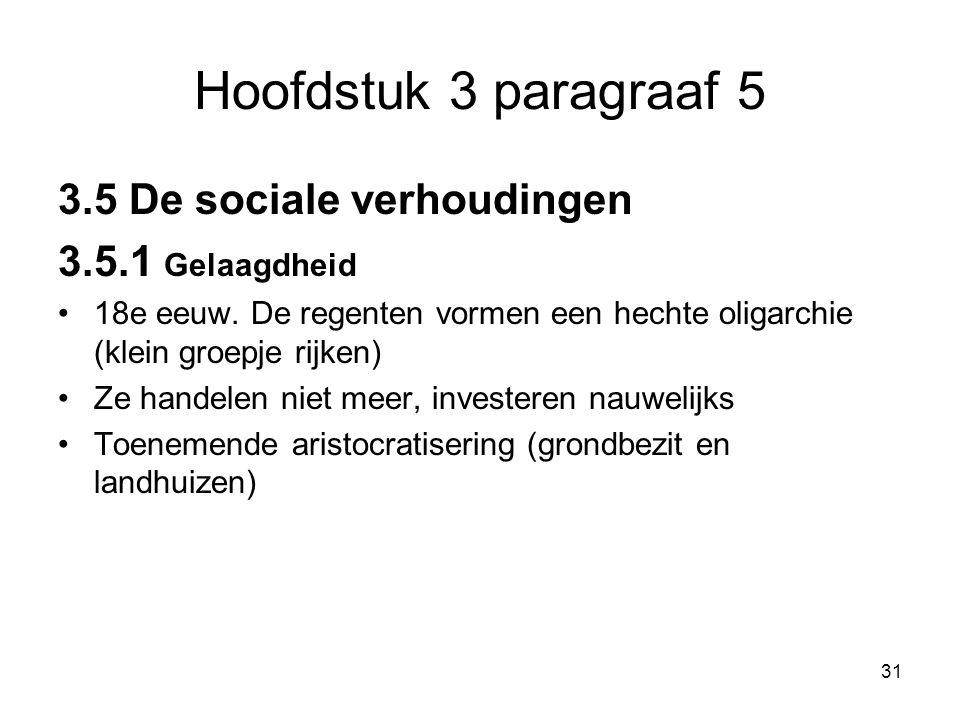 Hoofdstuk 3 paragraaf 5 3.5 De sociale verhoudingen 3.5.1 Gelaagdheid 18e eeuw. De regenten vormen een hechte oligarchie (klein groepje rijken) Ze han