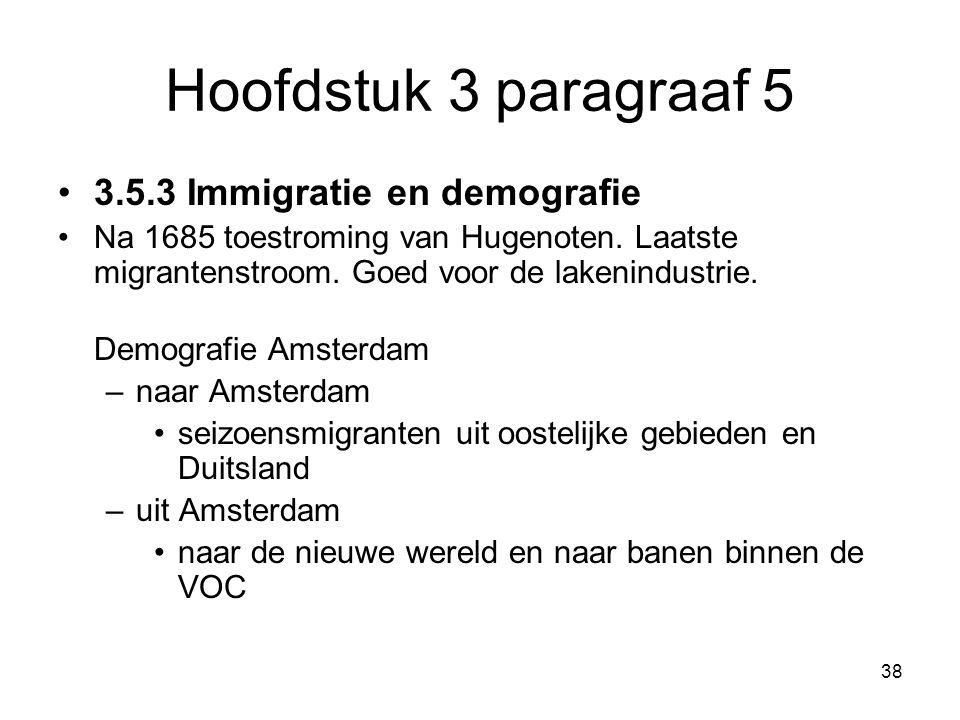 Hoofdstuk 3 paragraaf 5 3.5.3 Immigratie en demografie Na 1685 toestroming van Hugenoten. Laatste migrantenstroom. Goed voor de lakenindustrie. Demogr