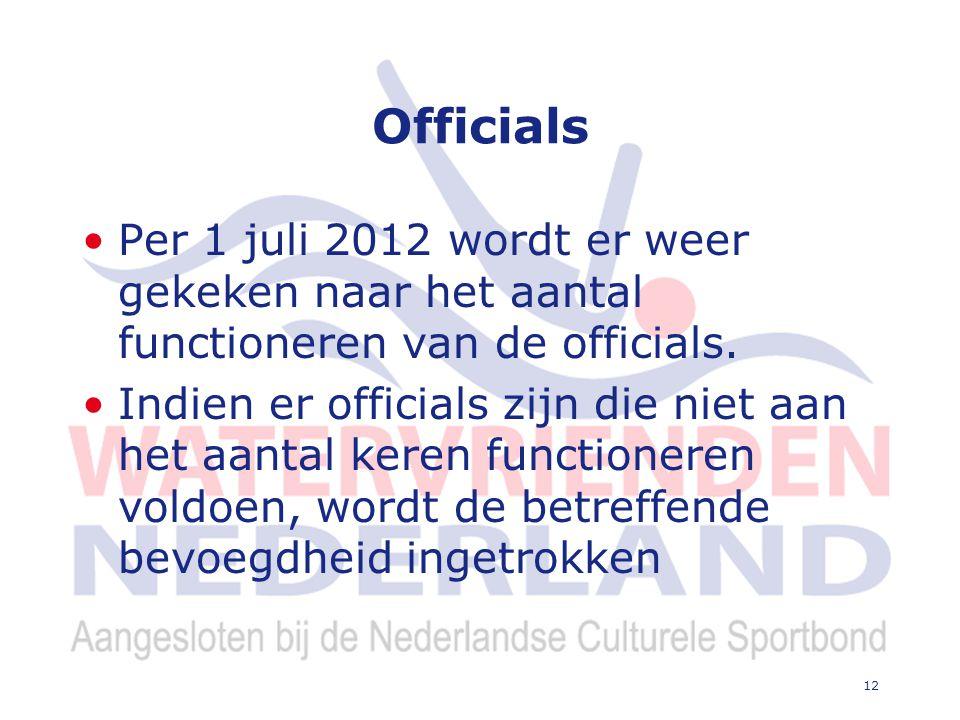 12 Officials Per 1 juli 2012 wordt er weer gekeken naar het aantal functioneren van de officials.