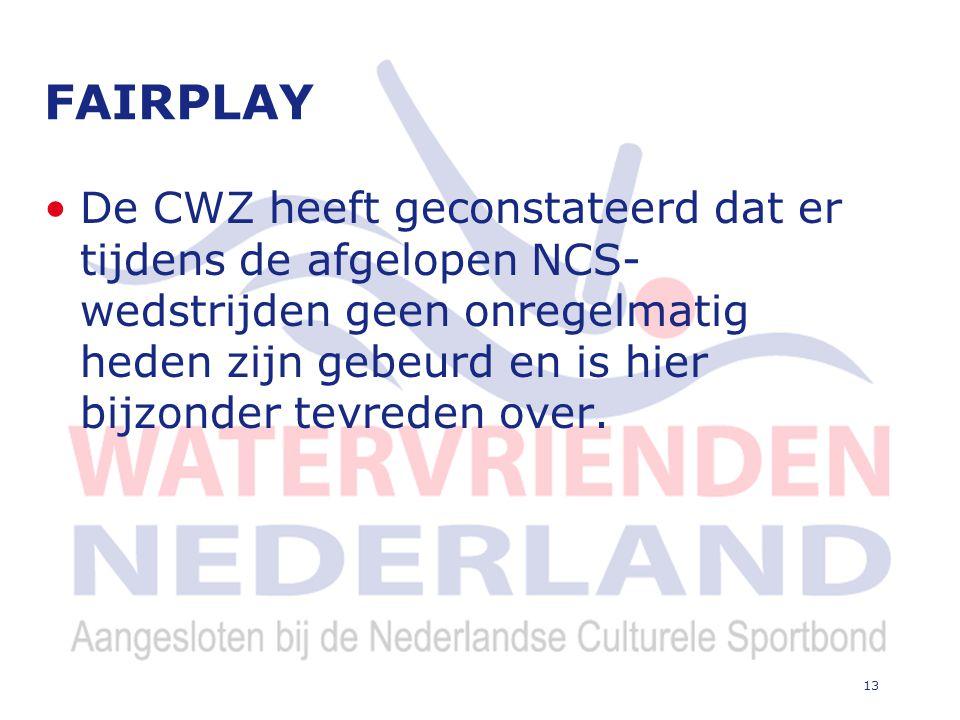 13 FAIRPLAY De CWZ heeft geconstateerd dat er tijdens de afgelopen NCS- wedstrijden geen onregelmatig heden zijn gebeurd en is hier bijzonder tevreden over.