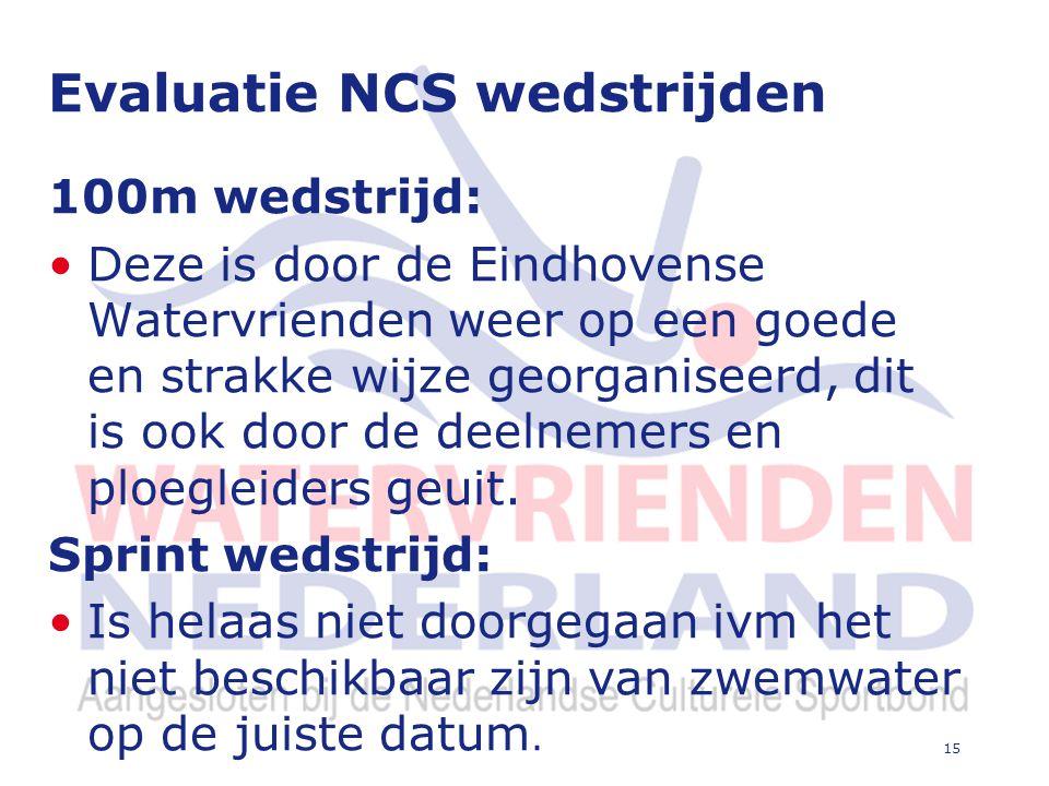 15 Evaluatie NCS wedstrijden 100m wedstrijd: Deze is door de Eindhovense Watervrienden weer op een goede en strakke wijze georganiseerd, dit is ook door de deelnemers en ploegleiders geuit.