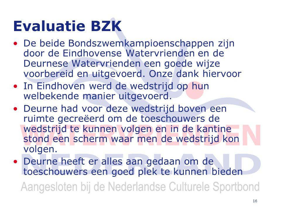 16 Evaluatie BZK De beide Bondszwemkampioenschappen zijn door de Eindhovense Watervrienden en de Deurnese Watervrienden een goede wijze voorbereid en uitgevoerd.