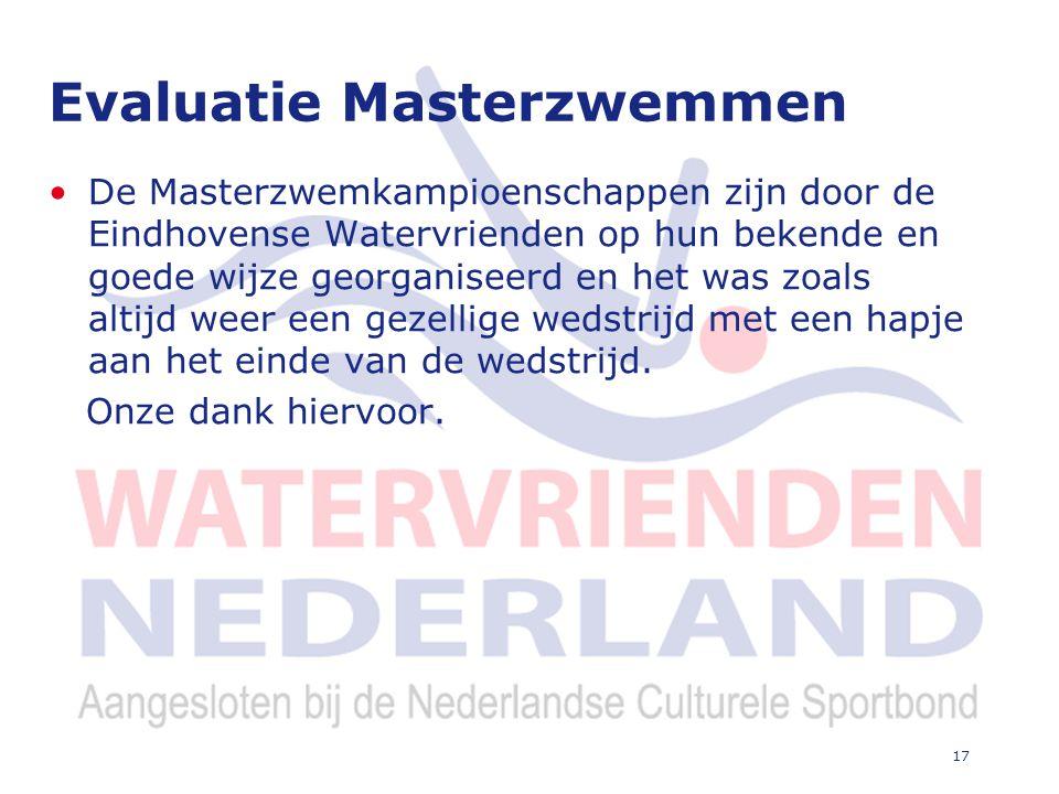 17 Evaluatie Masterzwemmen De Masterzwemkampioenschappen zijn door de Eindhovense Watervrienden op hun bekende en goede wijze georganiseerd en het was zoals altijd weer een gezellige wedstrijd met een hapje aan het einde van de wedstrijd.