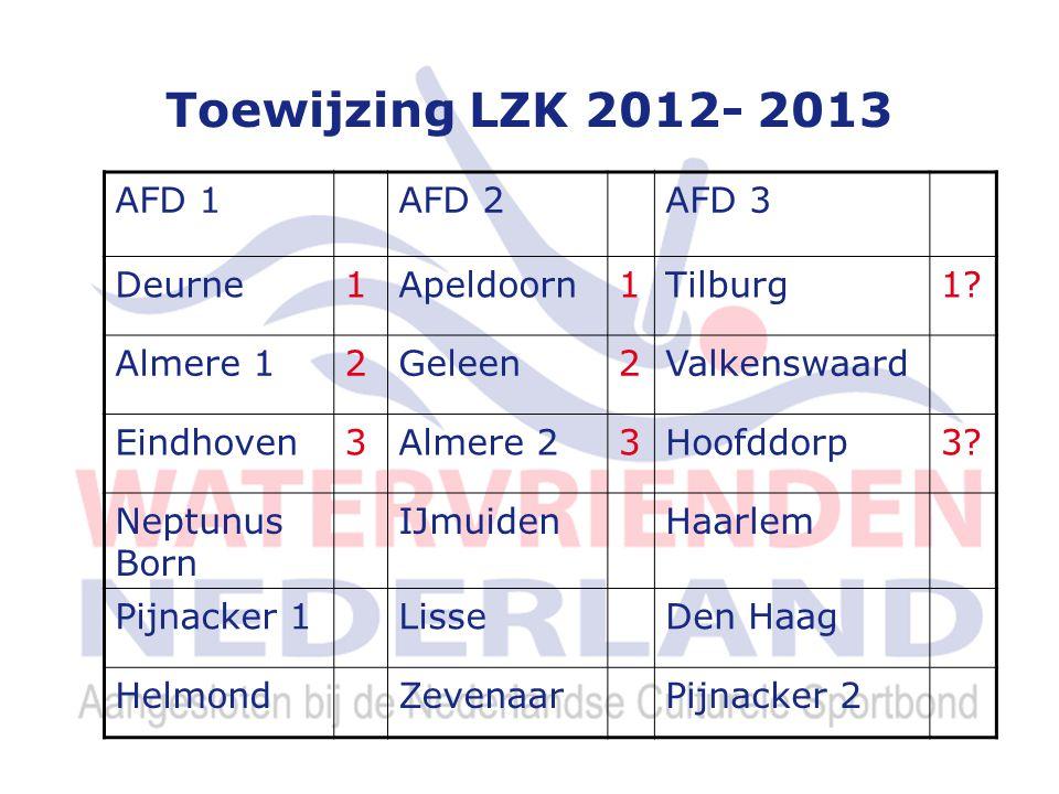 Toewijzing LZK 2012- 2013 AFD 1AFD 2AFD 3 Deurne1Apeldoorn1Tilburg1.