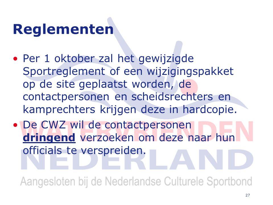 27 Reglementen Per 1 oktober zal het gewijzigde Sportreglement of een wijzigingspakket op de site geplaatst worden, de contactpersonen en scheidsrechters en kamprechters krijgen deze in hardcopie.