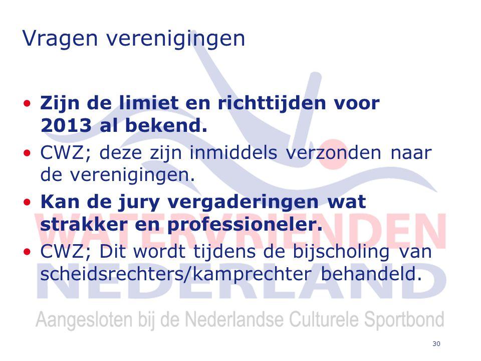 30 Vragen verenigingen Zijn de limiet en richttijden voor 2013 al bekend.
