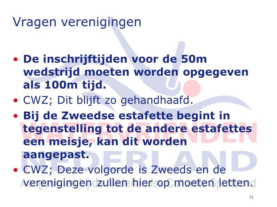 31 Vragen verenigingen De inschrijftijden voor de 50m wedstrijd moeten worden opgegeven als 100m tijd.