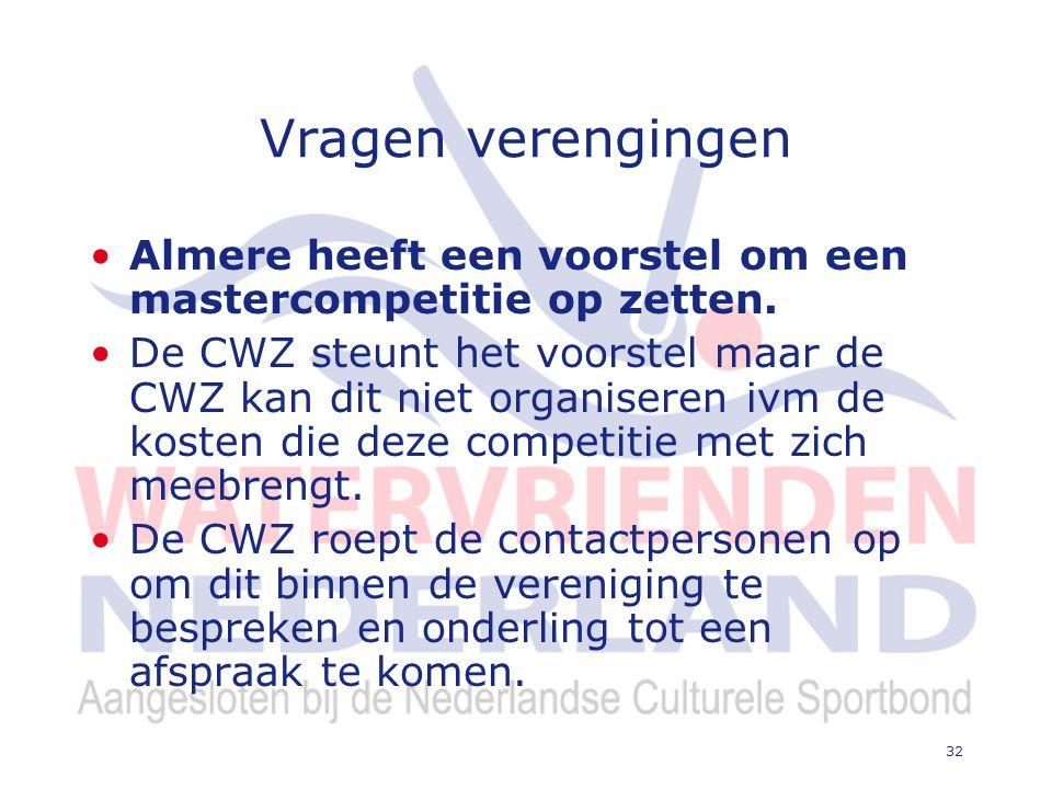 32 Vragen verengingen Almere heeft een voorstel om een mastercompetitie op zetten.