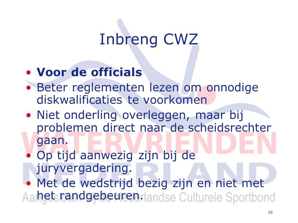 36 Inbreng CWZ Voor de officials Beter reglementen lezen om onnodige diskwalificaties te voorkomen Niet onderling overleggen, maar bij problemen direct naar de scheidsrechter gaan.