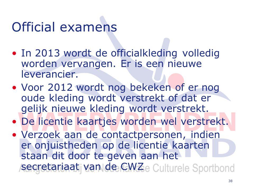 38 Official examens In 2013 wordt de officialkleding volledig worden vervangen.