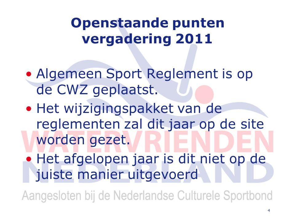 4 Openstaande punten vergadering 2011 Algemeen Sport Reglement is op de CWZ geplaatst.