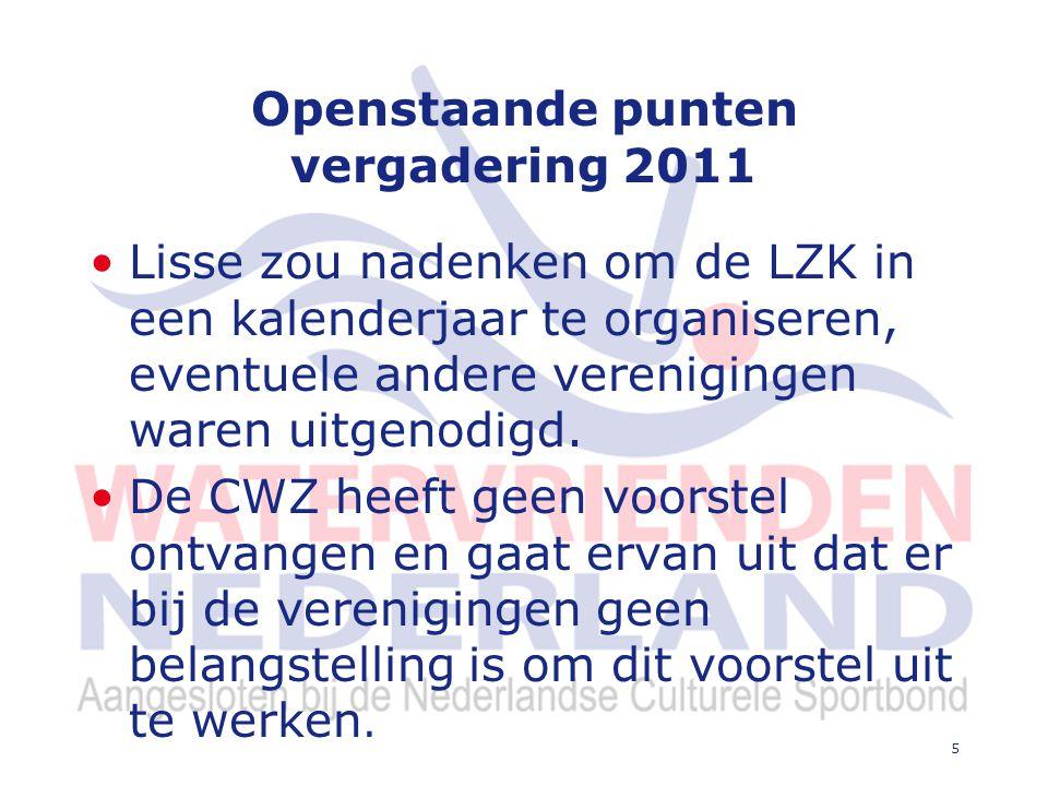 5 Openstaande punten vergadering 2011 Lisse zou nadenken om de LZK in een kalenderjaar te organiseren, eventuele andere verenigingen waren uitgenodigd.