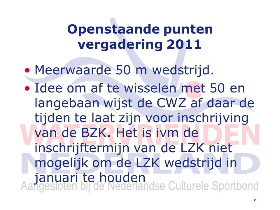 6 Openstaande punten vergadering 2011 Meerwaarde 50 m wedstrijd.